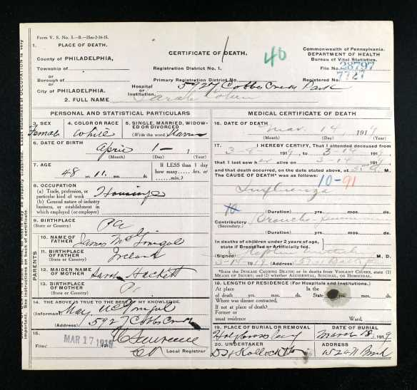 Sallie McGonigal Cohen death certificate 1919