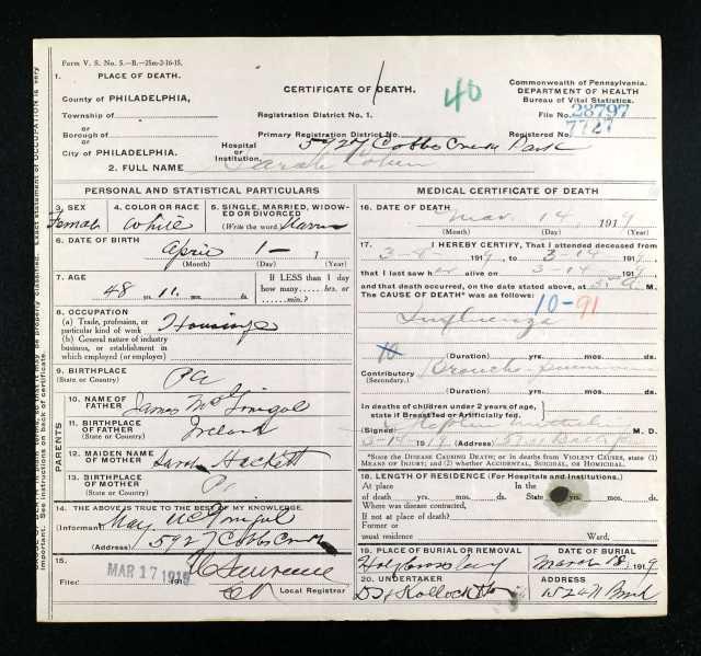 Sallie McGonigal Cohen death certificate 1919