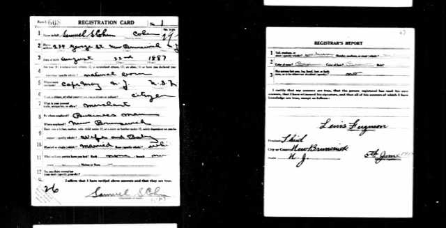 Samuel S Cohen World War I draft registration