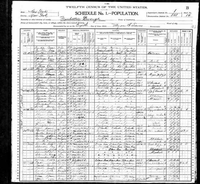 Solomon Cohen 1900 census