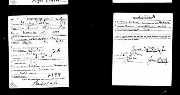 Stanley Cohen World War I draft registration