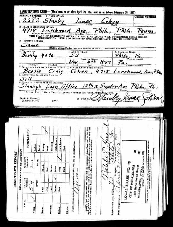 Stanley Cohen World War II draft registration