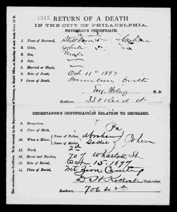 Stillborn baby Cohen death certificate