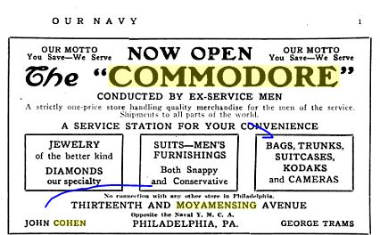 The Commodore ad from Our Navy, vol. 13