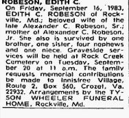 Edith Cohen Robeson death notice 1983 Ancestry.com. Historical Newspapers, Birth, Marriage, & Death Announcements, 1851-2003 [database on-line]. Provo, UT, USA: Ancestry.com Operations Inc, 2006.