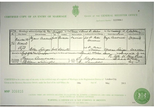 Hyams Auerbach and Ellen Selinger marriage certificate