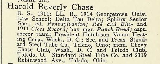 Harold B Chase U Penn alumni directory 1917