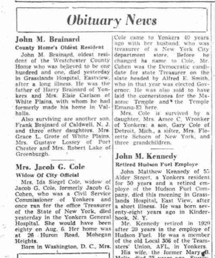 Ida Cole obituary Yonkers Herald Stateman July 26, 1949. p.  2