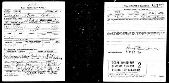 Isadore Baer Cohen World War I draft registration