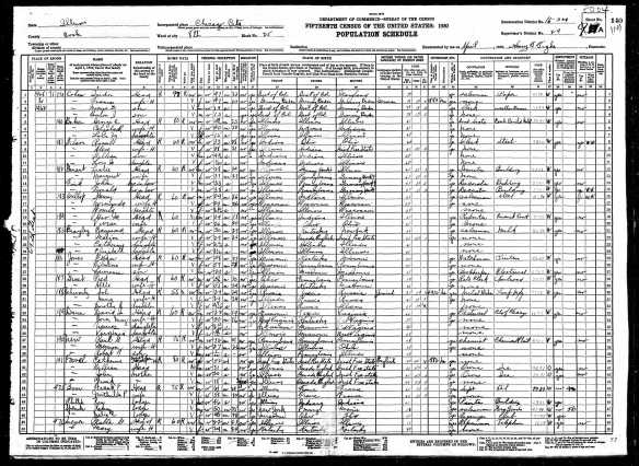 Isadore Baer Cohen and family 1930 census