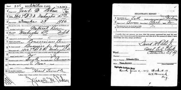 Jacob M. Cohen World War I registration (first)