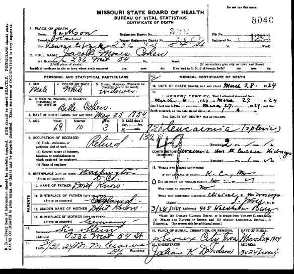JM Cohen death certificate