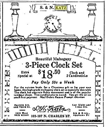 S.N. Katz Jewelry advertisement 1921