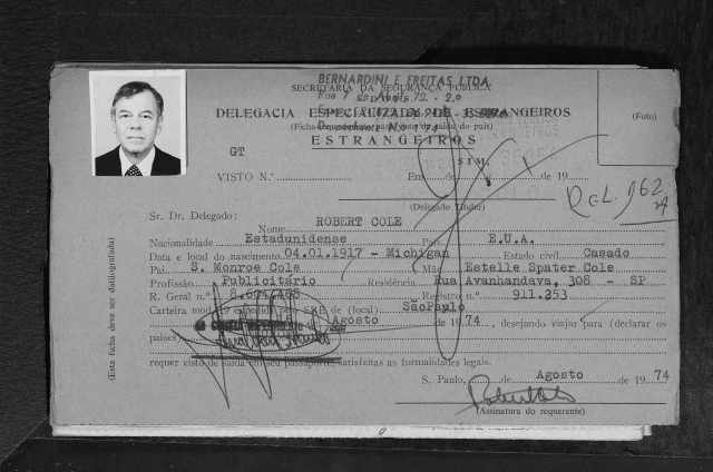 Robert Cole Brazilian immigration documents