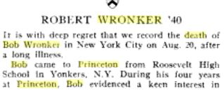 robert wronker death notice princeton alumni weekly vol 57 pt 1