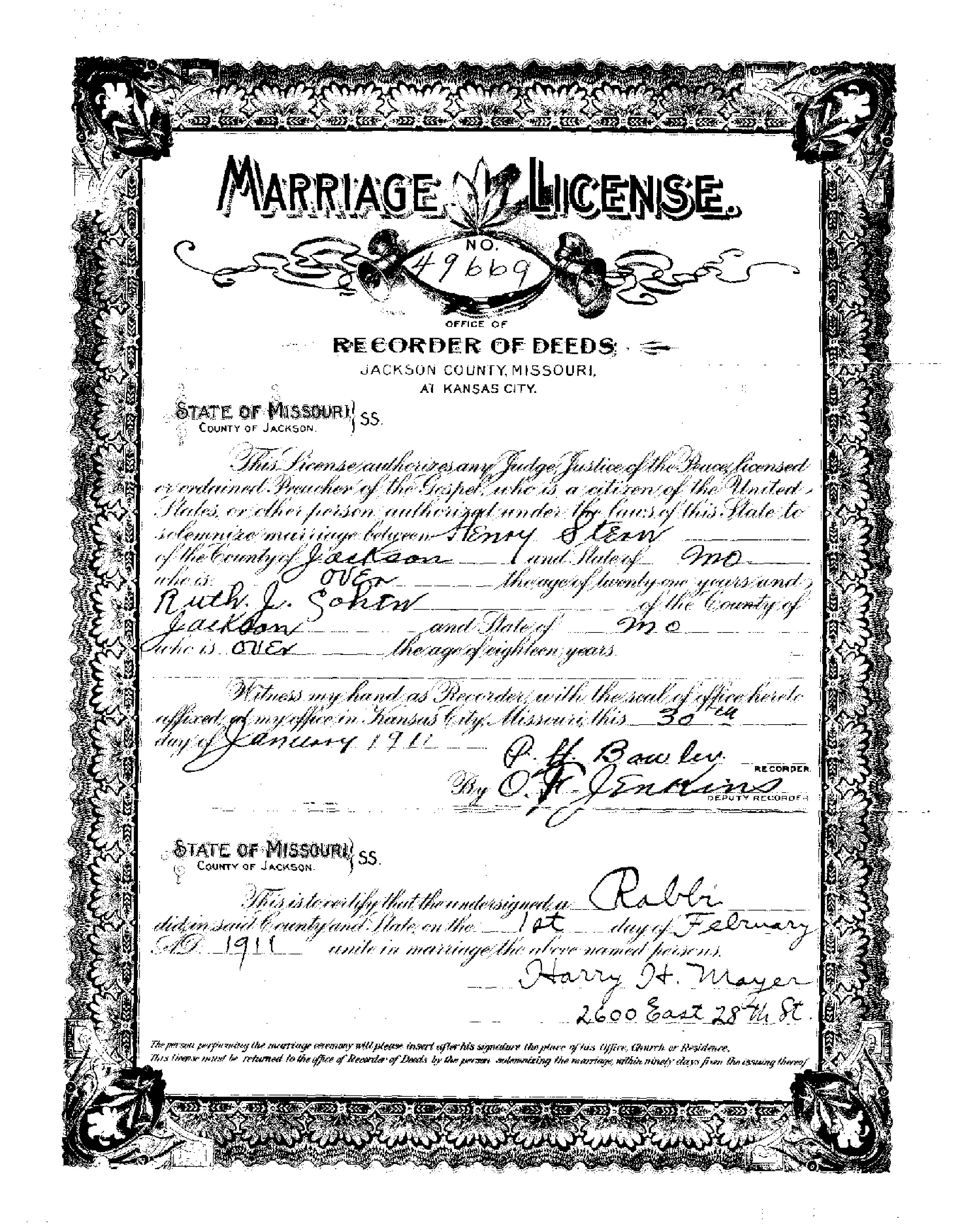 Stern brothers brotmanblog a family journey ruth cohen marriage license page 001 1betcityfo Gallery