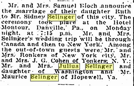 Sydney and Grace Selinger marriage announcement 1917