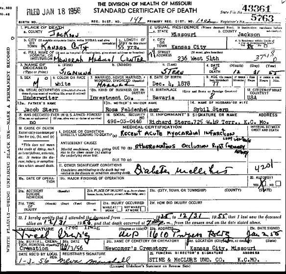 Sigmund Stern death certificate 1955-page-001