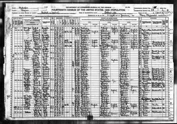 Solomon Cohen and family 1920 census