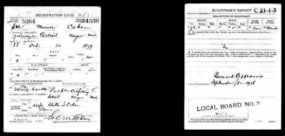 Sol M Cohen World War I draft registration
