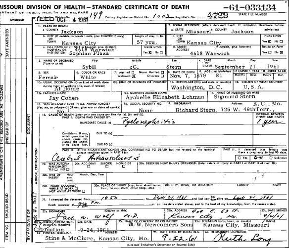 Sybil Cohen death certificate-page-001