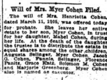 Will of Henrietta Loeb Cohen