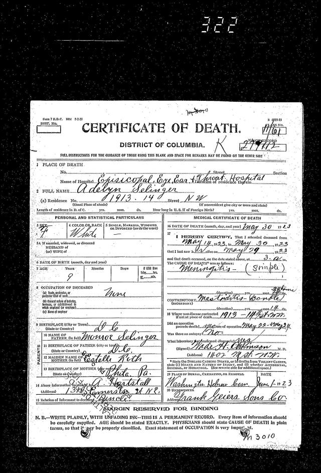 Adelyn Singer death certificate May 30, 1923
