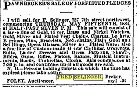f selinger ad may 14 1884