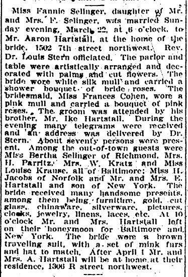 Fannie Selinger Hartstall marriage evening star March 24, 1908 p 7
