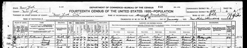 Isadore Rothman on the 1920 census