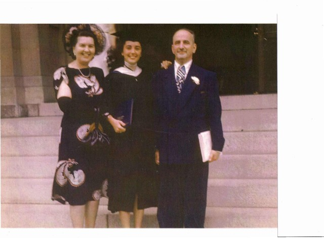 Marjorie and her parents Stanley and Bess Cohen at her graduation from Trinity (DC), c. 1947
