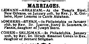 Marriage announcement of Emanuel Cohen and Eva Seligman