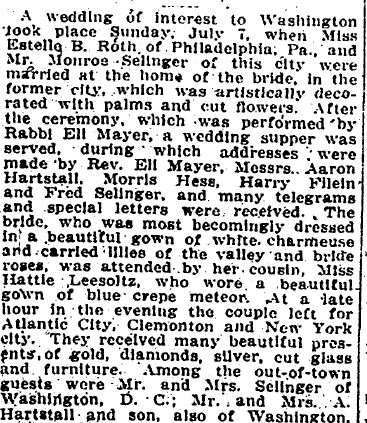 Monroe Selinger wedding 1912 evening Star July 10, p. 7