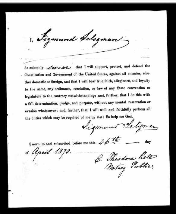 Sigismund Seligman naturalization affidavit