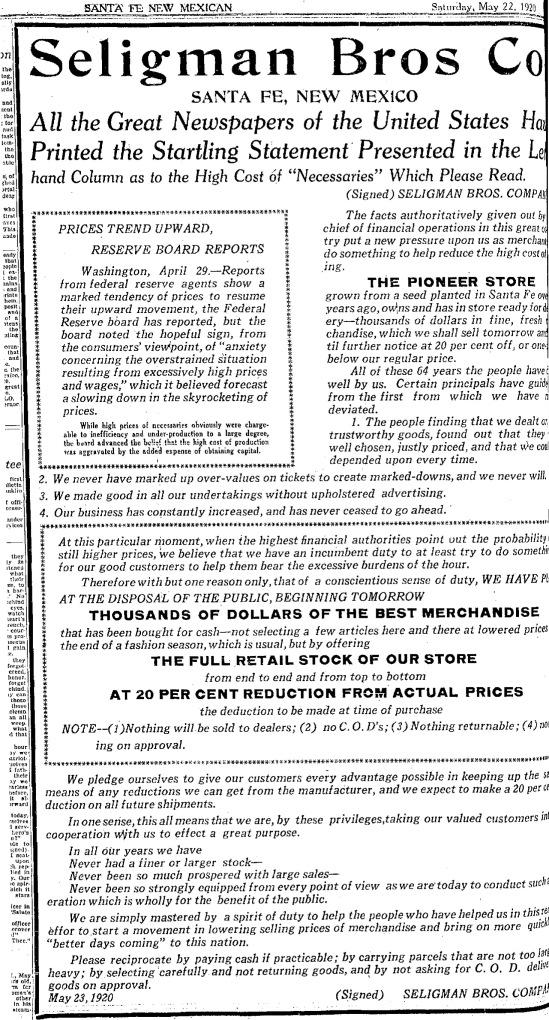 1920 Seligman Bros. ad