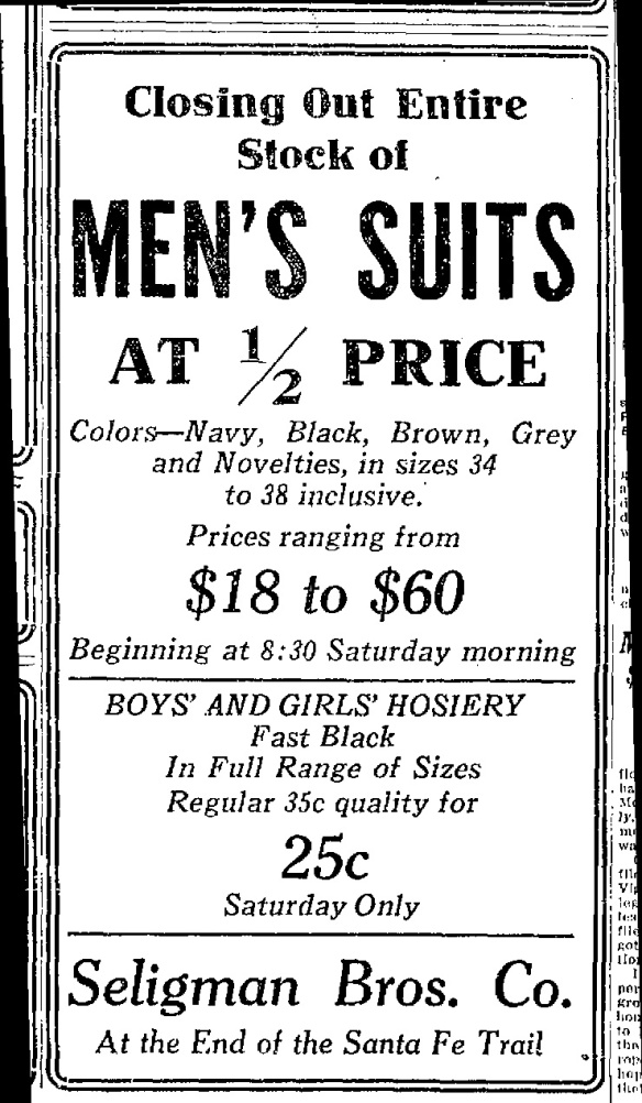 Seligman Bros ad May 5, 1922 Santa Fe New Mexican