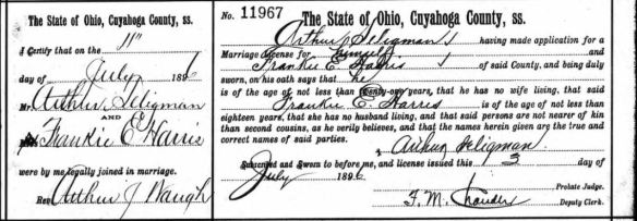 Marriage certificate of Arthur Seligman and Frankie E. Harris