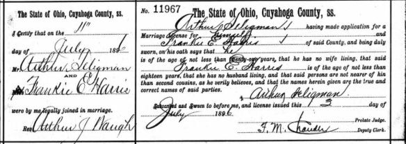 Cuyahoga County Archive; Cleveland, Ohio; Cuyahoga County, Ohio, Marriage Records, 1810-1973; Volume: Vol 42-43; Page: 489; Year Range: 1892 Sep - 1896 Jul