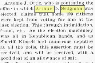 aseligman election challenge 1900