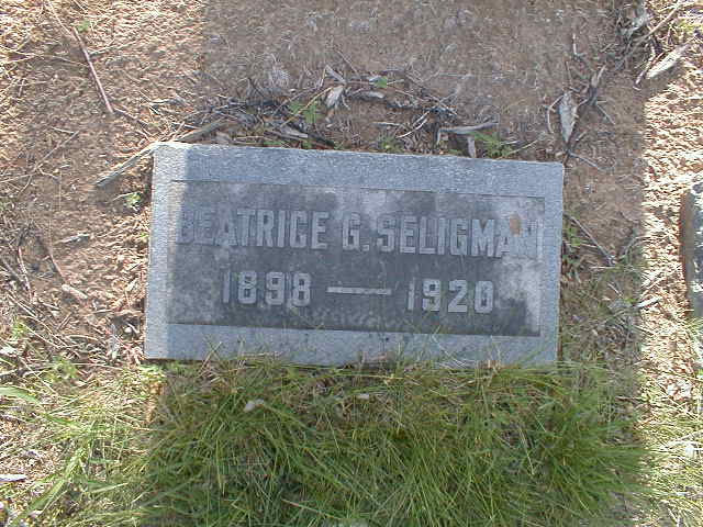 Beatrice Seligman headstone http://www.findagrave.com/cgi-bin/fg.cgi?page=gr&GSln=Seligman&GSiman=1&GScid=38062&GRid=114937292&