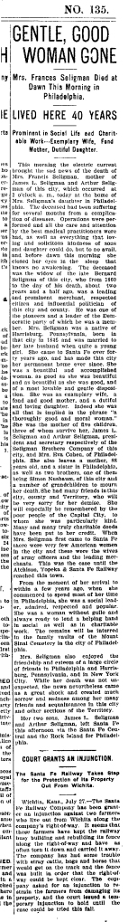 frances seligman obit July-27-1905 new mexican