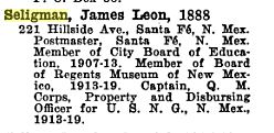 James Seligman in Swarthmore register 1920