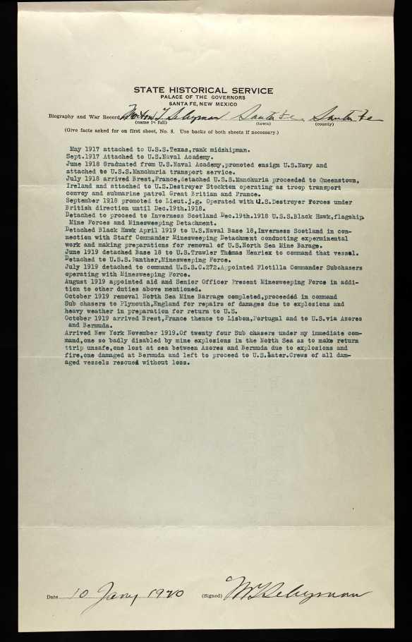 Morton Seligman WW1 service history