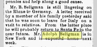 Traveling Seligmans 1894