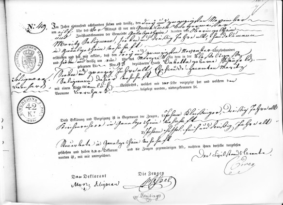Bernard Seligman's birth record