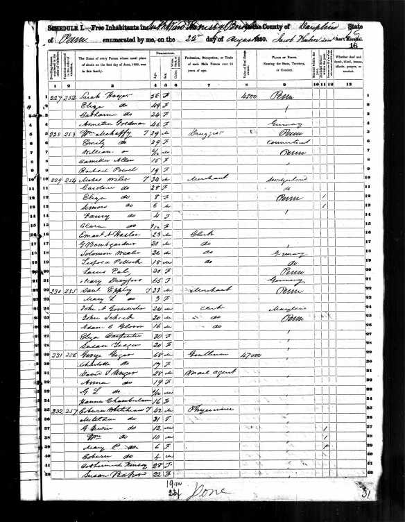Caroline Dreyfuss Wiler and family 1850 US census