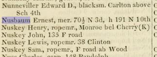 Ernest Nusbaum in the 1852 Philadelphia city directory