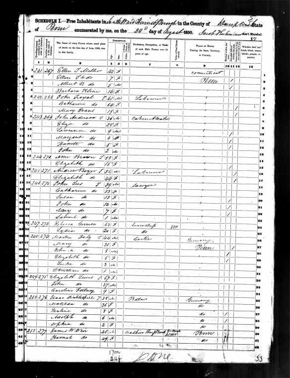 Mathilde and Isaac Dinkelspiel 1850 US census Harrisburg, PA