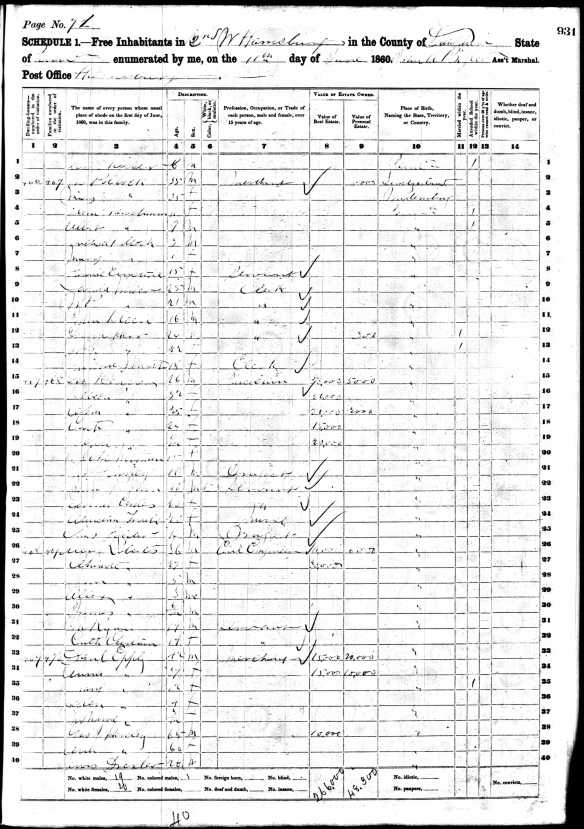 Mathilde Dreyfuss Nusbaum Pollock and family 1860 census