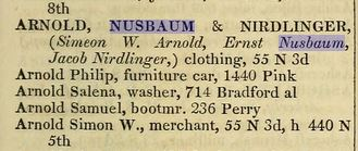 Ernst Nusbaum 1859 Philadelphia directory